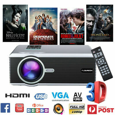 7000 Lumens 3D LED Projector 1080P Full HD Multimedia Home Cinema Theater HDMI