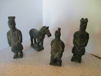 4 Antique Chinese Terracotta Clay Figurines, Horse, Soldier, 2 Men, Vg Lot Rare