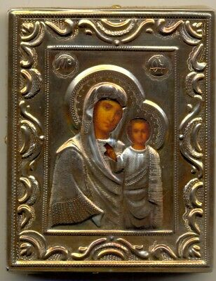 Antique Russian Imperial Icon Sterling Silver Gold Plated  (2310)
