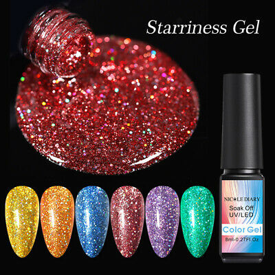 NICOLE DIARY 8ml Nail UV Gel Polish Bling Sequins Soak Off Gel Nail Polish