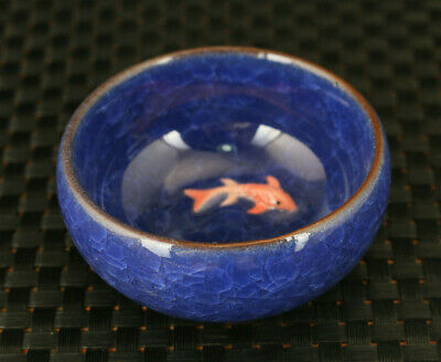 old chinese porcelain Handmade double fish bowl tea cup decoration fine gift