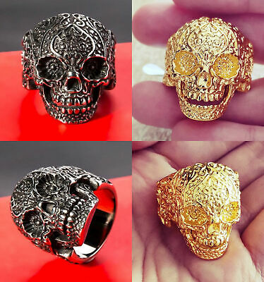 Mens Silver/Gold Stainless Steel Tattoo Spade Skull Gothic Biker Ring Size 9-14