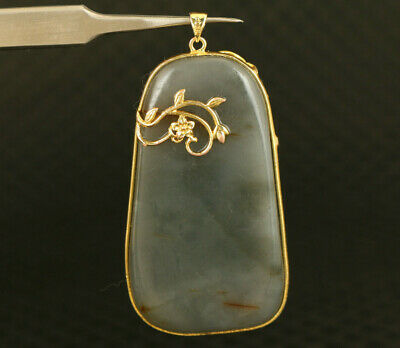 china old Natural jade inlay Golden edge pendant collectable Netsuke gift