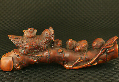 old Chinese boxwood hand carving big rooster chick statue decoration gift