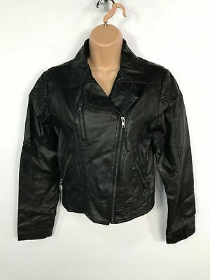 Girls Candy Couture Black Zip Up Short Faux Leather Coat Jacket Kids Size 15 Yrs