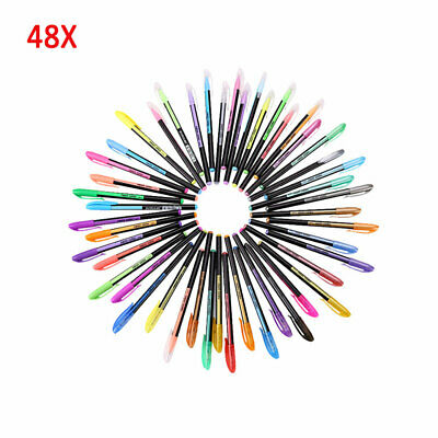 48X Color Gel Pen Set Adult Coloring Book Ink Pens Drawing Painting Craft Arts