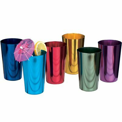 6 PCS Anodized Aluminum Tumblers Drinking Cocktail Glasses Retro 16 ounce Cup