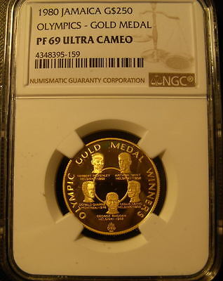 Jamaica 1980 Gold NGC PF69UC Olympics - gold Medal Mintage - 902