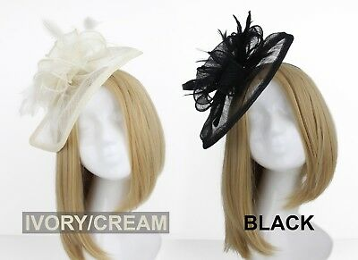 Black Ivory Womens Fascinator Band Feather Weddings Ladies Day Races Royal Ascot