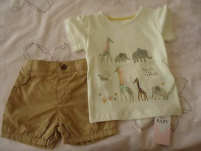 Marks & spencer autograph baby girl summer safari animal top & shorts 3-6m NWT