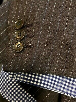 PAL ZILERI Mens Suit MADE IN ITALY 40R BROWN With Blue Stripes WOOL 1 Pleat