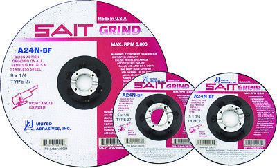 """Sait 5"""" X 1/4"""" Grinding Wheels-Type 27, Made In Usa(Pack Of 10) 20175"""