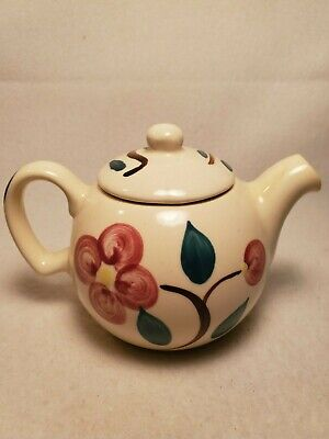 Vintage PURINTON SLIPWARE  1 Cup TEAPOT MOUNTAIN ROSE Flower 1940s