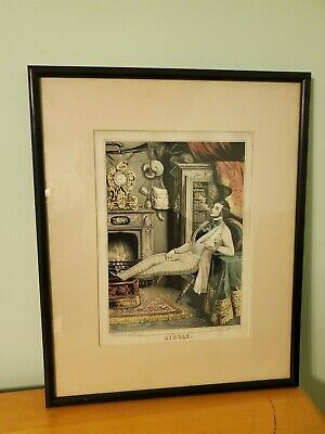 """Original 1846 Hand Colored Lithograph by Sarony & Major Titled """"Single"""""""