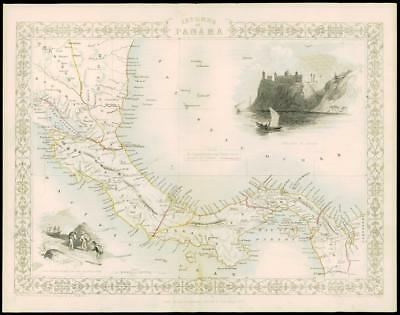 "1850 Illustrated Original Antique Map ""ISTHMUS OF PANAMA"" by TALLIS  (164d)"