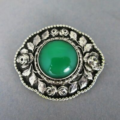 Antique Art Nouveau Brooch in Silver with Roses and Large Chrysoprase Cabochon