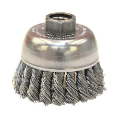 """Weiler 2-3/4"""" Single Row Knot Wire Cup Brush, 5/8""""-11  (Made In The Usa) 13286"""