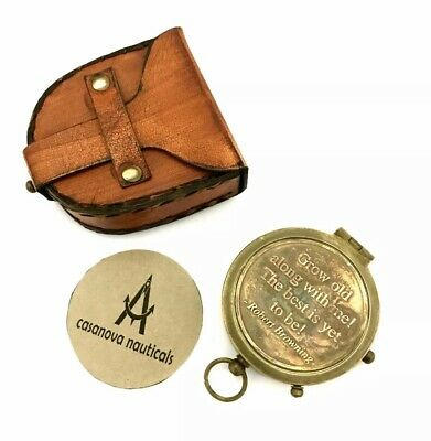 Collectible Pocket Compass with Leather BOX - Nautical Brass Pocket Compass GIFT