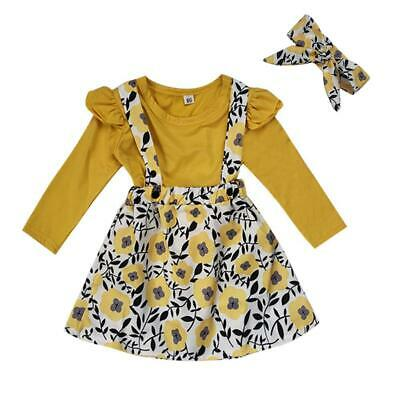 Baby Girl Kids 3pcs Autumn Spring Clothes Sets Ruffle Tops Suspender Skirt