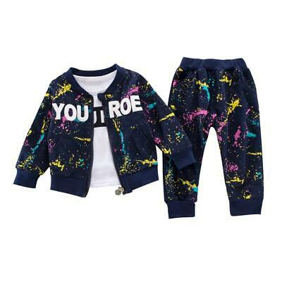 Baby Boy Kids Spring Autumn Long-Sleeves 3pcs Letters Clothes Sets