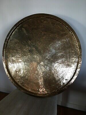Vintage antique large quality Islamic Arabic Brass Tray-Top Charger for Table