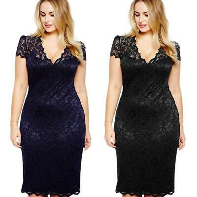 Sexy Pure Lace V-neck Dresses Women Short Sleeve Slim A-line Dress L-4XL