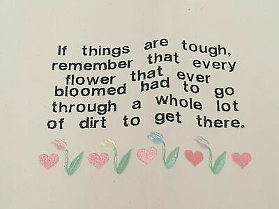 Stitched Quote Saying Inspirational Embroidered Encouragement Flower Growth Age