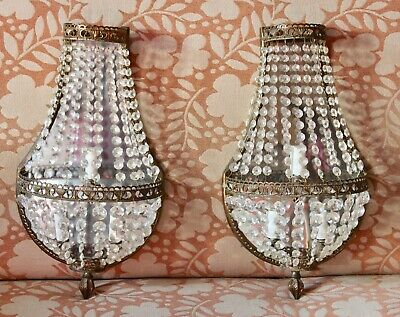"""Pair VTG French Empire Style Faceted Crystal & Brass Lighted Wall Sconces 20"""""""