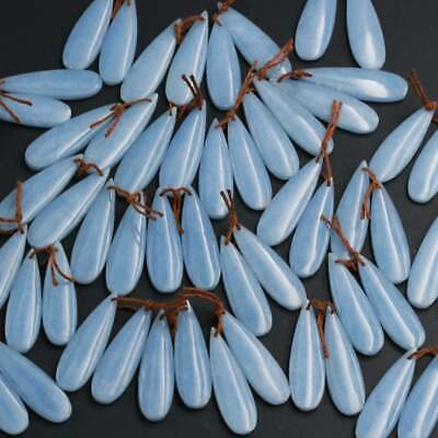Drilled Natural Blue Angelite Earring Pair Gemstone Teardrop Matched Stone Beads