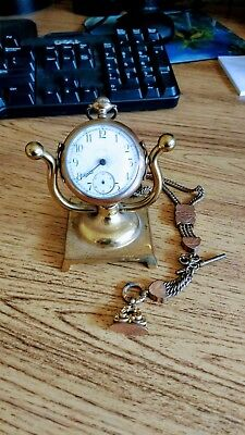 Antique 19th Century Gold Watch, Chain, Bob and stand, marked W.E Fellows