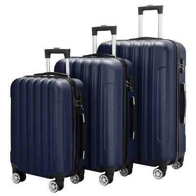 Set of 3 Luggage Set ABS Spinner Travel Lightweight Suitcase 20'' 24'' 28'' Blue