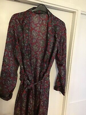 Gents Genuine Intage St Michael Tricel Dressing Gown Robesize Medium Red Paisley