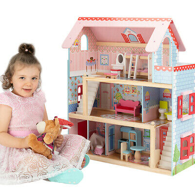 KIDS Dollhouse Dream Dolls Doll House Wooden Furniture Pink