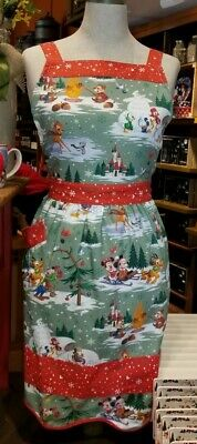 Disney Parks WOODLAND MICKEY & FRIENDS Holiday Apron NEW Bambi Goofy Chip & Dale