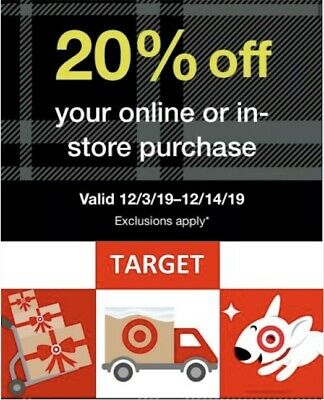 🎁 Target 20% Off Coupon - Valid from 12/3-12/14/19. Online or in store! 🎁