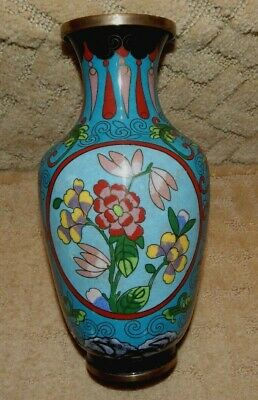 "Antique Chinese Cloisonne Brass Vase Lotus Flowers & Teardrops 9"" Blue"