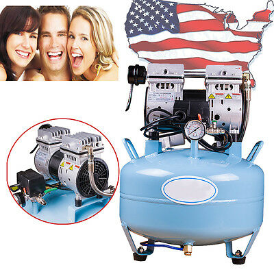 【USA】Noiseless Oil Free Oilless Air Compressor 30L 130L/min for Dental Chair CE