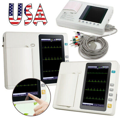 US Digital 3/6 Channel Touch ECG EKG machine Electrocardiograph 12 Leads Monitor