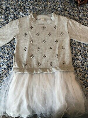 Girls Dress Light Grey with Tule Bottom and Silver Beading on the Front Size 12