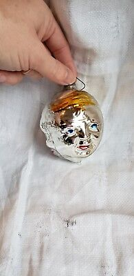 Vintage Christmas Ornament Retro Collectable Heads Three Headed Side Glass