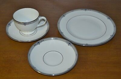 Wedgwood Amherst 1 Cup, 2 Saucers, 1 Salad Plate - Platinum Trimmed Bone China