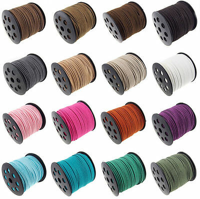 3mm 10M Faux Suede Cord Leather Lace Jewellery Making Beading Flat Thread String