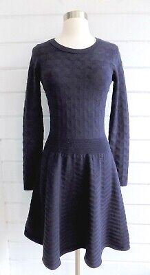 SANDRO Navy Blue Textured Knit Fit & Flare Long Sleeved Dress-Sz. 2
