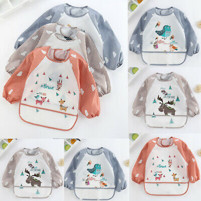 AU Baby Kids Toddler Long Sleeve Waterproof Art Smock Feeding Bib Apron Pocket