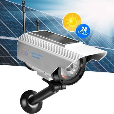 Solar Power Fake Camera Outdoor Security Dummy Surveillance LED Light Silver