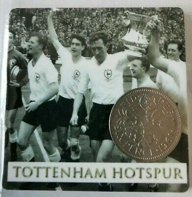 Tottenham Hotspurs Spurs Football card with Lucky Sixpence. Ideal Birthday Gift