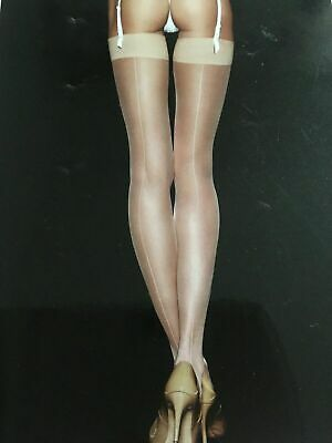 Ann Summers Plain Top Seamed Stockings Nude Size L / XL New with Tags