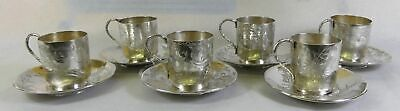 Hung Chong & Co Chinese Export Silver Tea Cups Dragons set of 6 c.1900 Shanghai