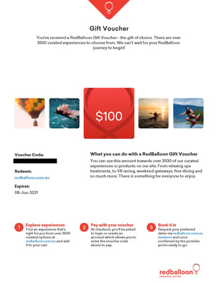 2 x $100 Red Balloon Gift Voucher - Expiry June 2021 - experiences adventures