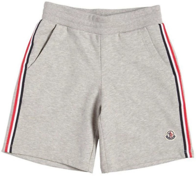 £115 Moncler (Kids) Cotton Sweat Shorts With Logo Side Bands in Grey Marl (980)